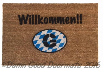 German Willkommen doormat with FLAG