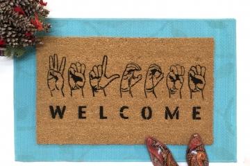 ASL American Sign Language Welcome doormat