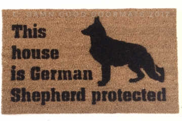 Protected by German Shepard dog door mat