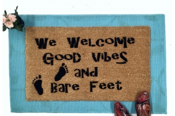Good Vibes, Bare Feet, boho style doormat