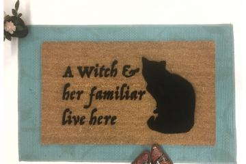 Witch & her Familiar Halloween Black cat doormat