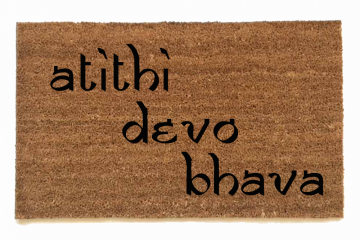 English Hindu atithi devo bhava Guests are God Welcome Yoga mat