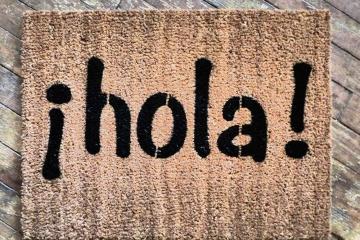 hola hello spanish doormat