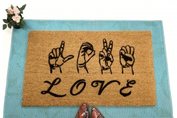 ASL LOVE American Sign Language doormat