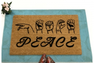 ASL PEACE American Sign Language doormat