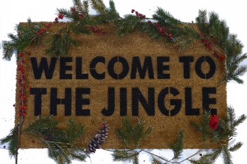 Welcome to the Jingle Christmas Gun N' Roses doormat