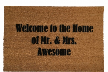 Welcome to the Home of Mr. and Mrs. AWESOME™ wedding gift doormat