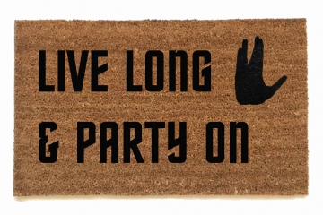Live long & party on, Wayne's World meets Star Trek doormat