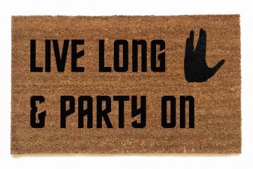 Live long & party on, Wayne's World meets Star Trek doormat