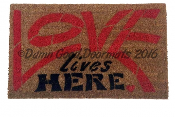 Love lives HERE! hippy doormat