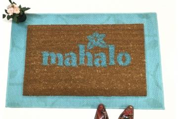Mahalo Hawaiian tiki doormat welcome