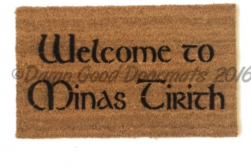 Welcome to MINAS TIRITH JRR Tolkien Middle Earth nerd doormat