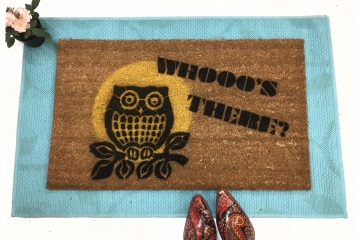 OWL Moon- Whooo's There full moon -doormat