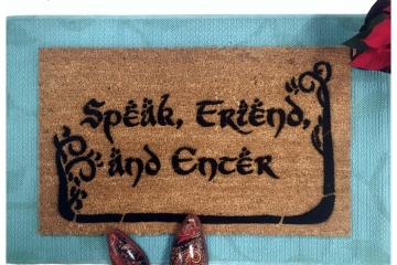 NEW Hobbit lettering Tolkien  Speak, Friend, and Enter with TREES JRR Tolkien quote doormat