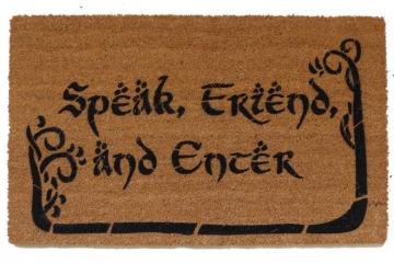 NEW Hobbit lettering Tolkien  Speak, Friend, and Enter with TREES JRR Tolkien quote doormat