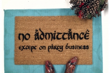 JRR Tolkien TEXT No admittance, except on party business geek doormat