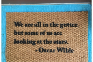 oscar wilde quote gutter stars doormat