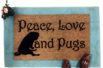 Peace Love & Pugs™ doormat