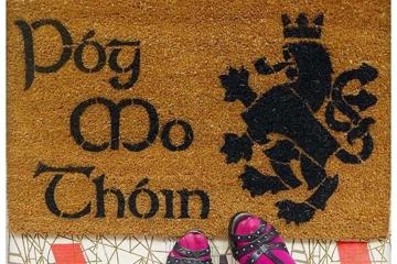 Póg Mo Thóin Irish kiss my ass Heraldic Lion Welcome doormat