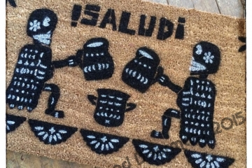 Salud Dia de las Muertos, Day of the Dead Spanish doormat
