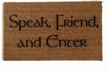 """Tolkien quote """"Speak, Friend, and Enter"""" Novelty doormat"""