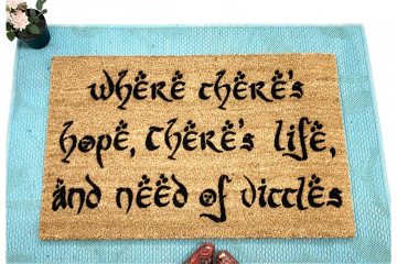 Where there's hope there's life JRR Tolkien quote nerdy doormat