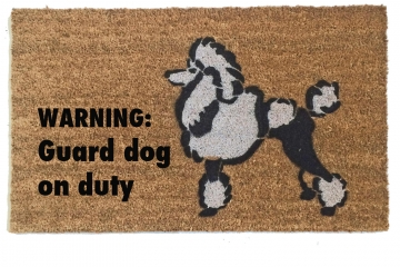 Toy Poodle WARNING: Guard dog on duty funny doormat