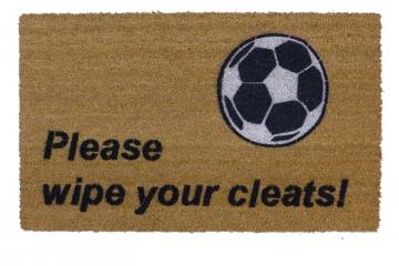 Please wipe your cleats™ funny wipe your feet Soccer doormat