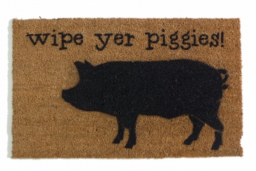 wipe your piggies, funny pig barnyard Farmhouse doormat