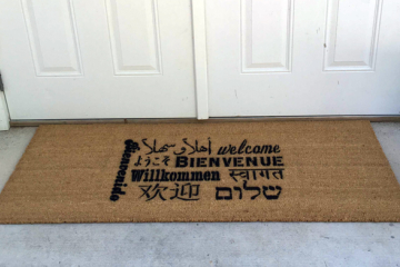 Double Wide XL Welcome in all languages multi lingual doormat
