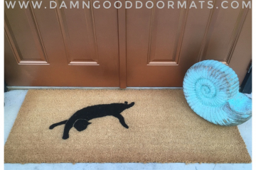 Doublewide XL Black cat doormat Halloween