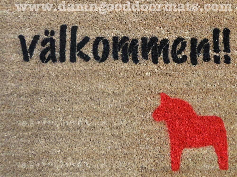 Beau Swedish Dala Horse Doormat